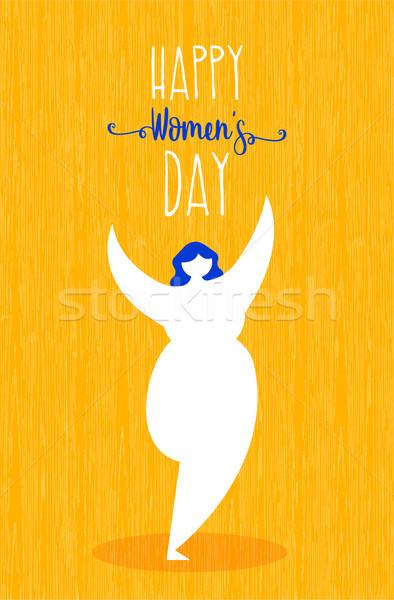 Día de la mujer tarjeta de felicitación niña feliz baile feliz celebración Foto stock © cienpies