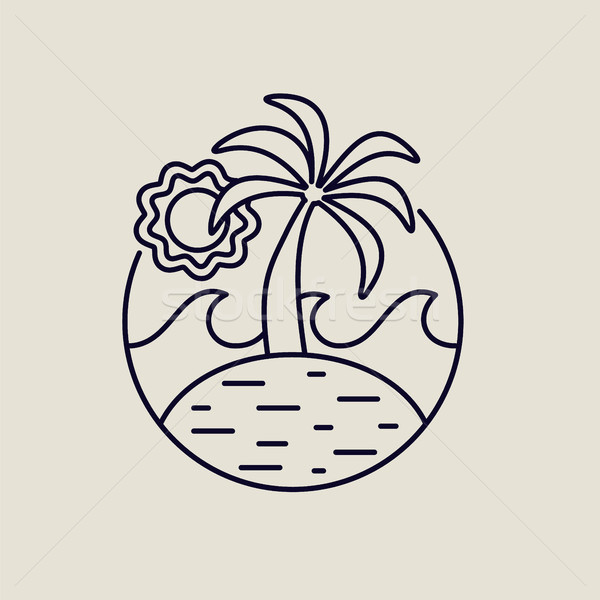 Summer island line art icon with tropical beach Stock photo © cienpies