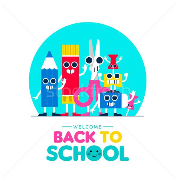 Back to school fun art supplies friends design Stock photo © cienpies