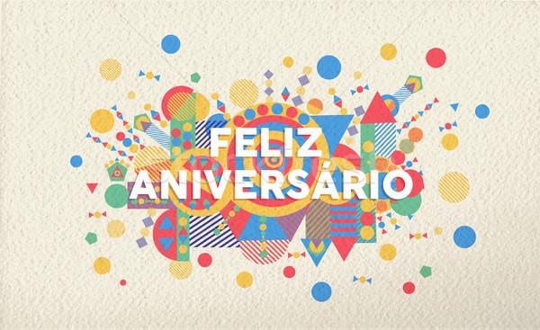 Happy birthday card in portuguese language Stock photo © cienpies