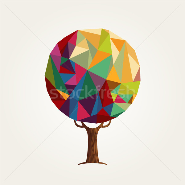 Abstract low poly style colorful tree concept  Stock photo © cienpies