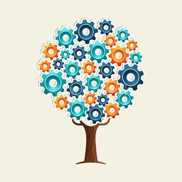 Cog wiel boom teamwerk oplossing versnelling Stockfoto © cienpies