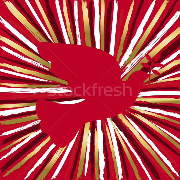 Red peace dove bird made of gold hand drawn brush Stock photo © cienpies