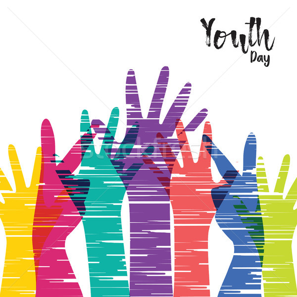 Youth Day card of diverse people group hands Stock photo © cienpies