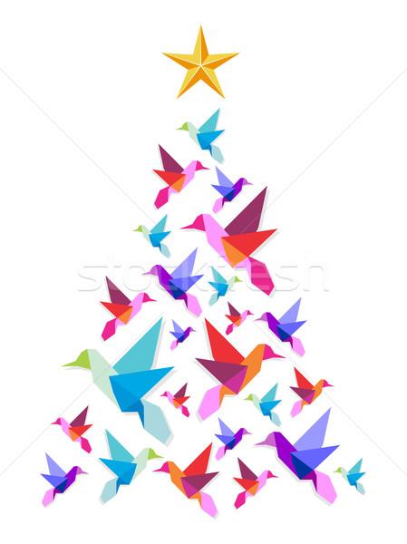 оригами рождественская елка звездой Top белый Сток-фото © cienpies