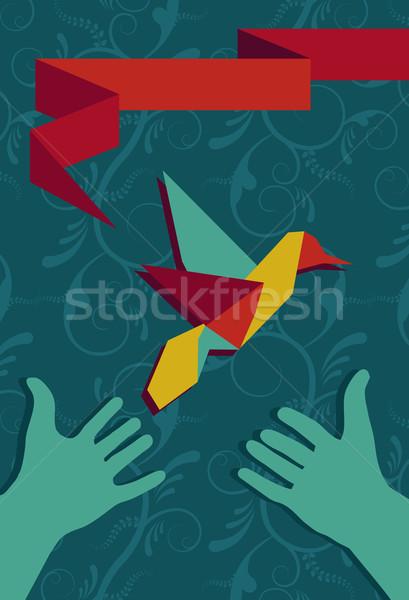 стороны оригами hummingbird рук портрет Сток-фото © cienpies