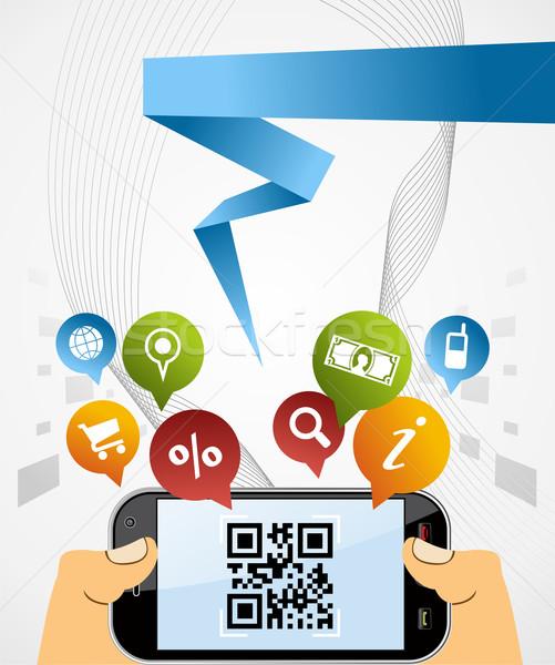 Qr code toepassing zwarte horizontaal smartphone Stockfoto © cienpies