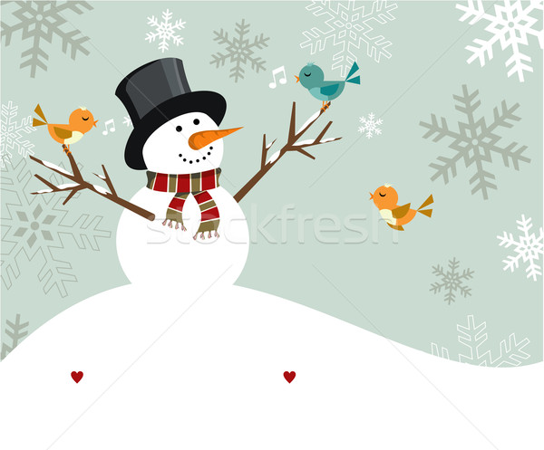 Snowman Christmas card. Stock photo © cienpies
