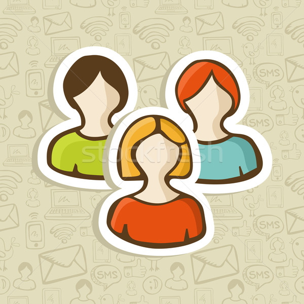 Social user group profile icons Stock photo © cienpies