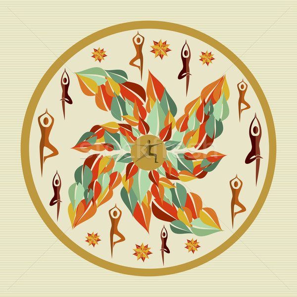 Ludzi pozostawia jogi mandala kółko liści Zdjęcia stock © cienpies