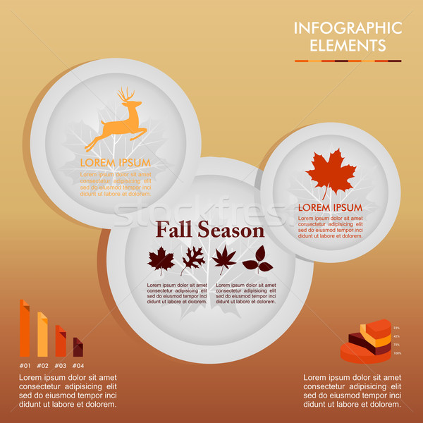 Fall season infographic plates Autumn graphics template. EPS10 f Stock photo © cienpies