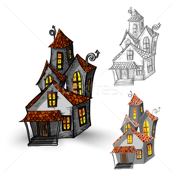 Halloween monsters isolated spooky haunted houses set. Stock photo © cienpies