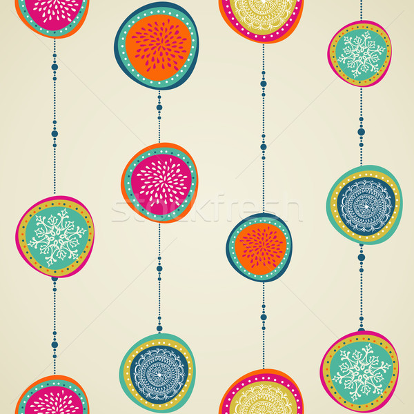 Merry Christmas elements circle bauble seamless pattern. Stock photo © cienpies
