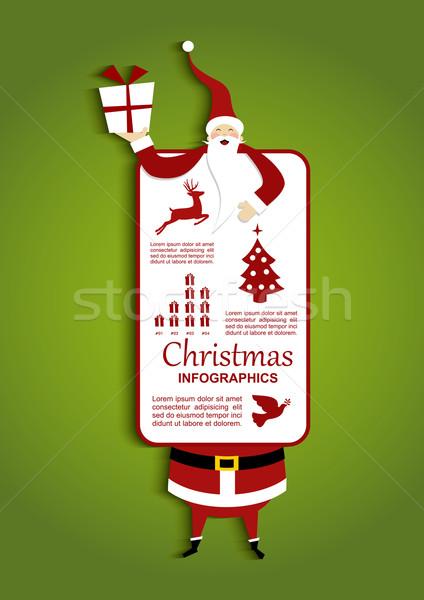 Christmas and Santa Infographic illustration Stock photo © cienpies