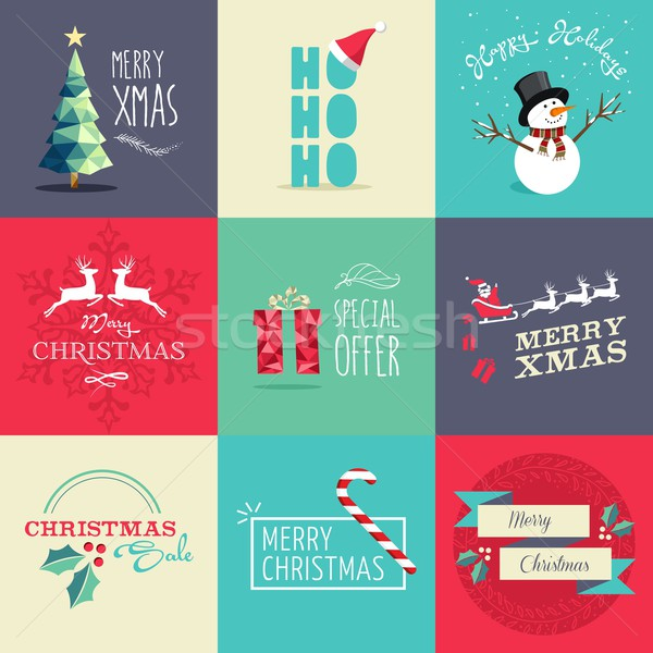 Merry Christmas flat elements illustration set Stock photo © cienpies