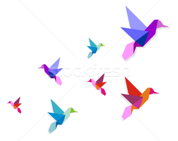 Stock photo: Group of various Origami hummingbirds