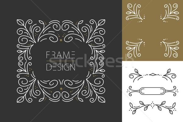 Retro monogram frame ingesteld ontwerp vintage Stockfoto © cienpies