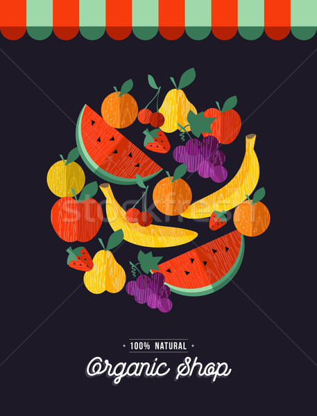 Organic food shop design with fruit illustration Stock photo © cienpies