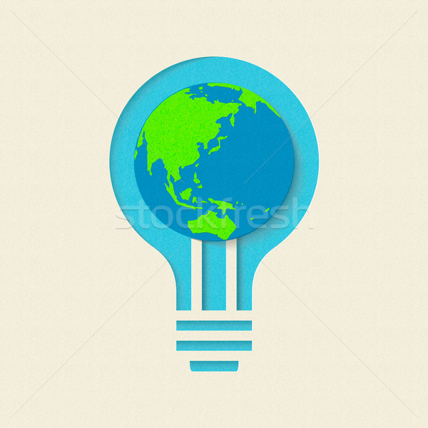 Earth day green light bulb paper cut design Stock photo © cienpies