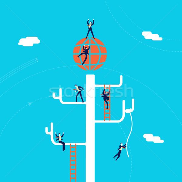 Global Business Erfolg Illustration Geschäftsleute Team Klettern Stock foto © cienpies