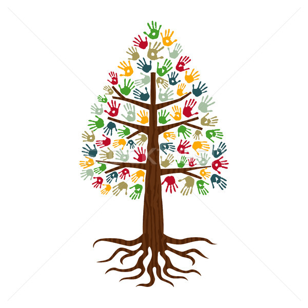 Pine tree with hand print art diverse people sign Stock photo © cienpies