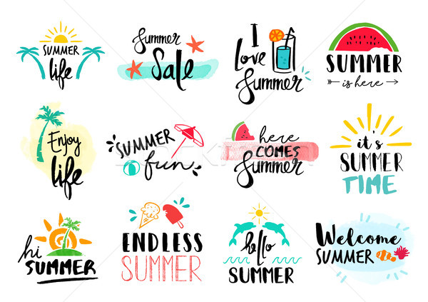 Summer quote set typography hand drawn decoration Stock photo © cienpies