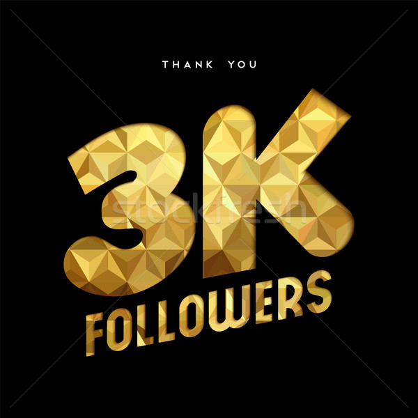 3k gold internet follower number thank you card Stock photo © cienpies