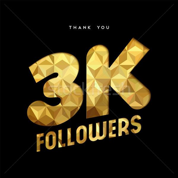 Ouro internet seguidor número obrigado cartão Foto stock © cienpies