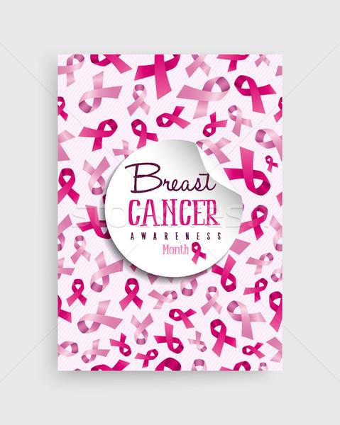 Meme kanseri farkında olma poster dizayn ay Stok fotoğraf © cienpies