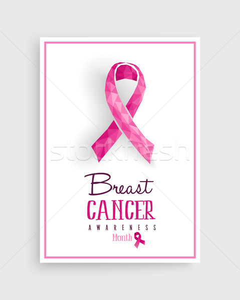 Borstkanker bewustzijn roze laag boeg poster Stockfoto © cienpies