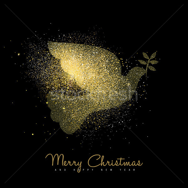 Christmas and new year gold glitter peace dove art Stock photo © cienpies