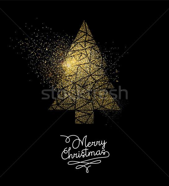 Рождества золото блеск сосна украшение карт Сток-фото © cienpies