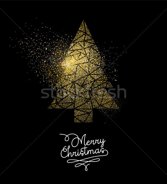 Noël or glitter arbre de pin décoration carte Photo stock © cienpies