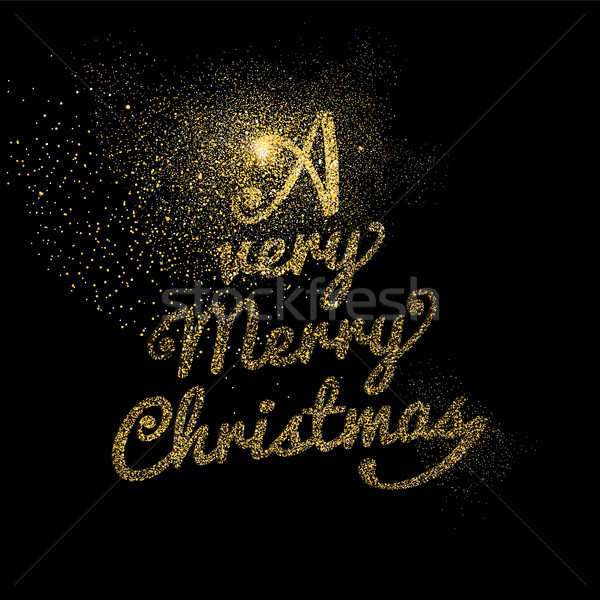 Merry Christmas gold glitter lettering card design Stock photo © cienpies