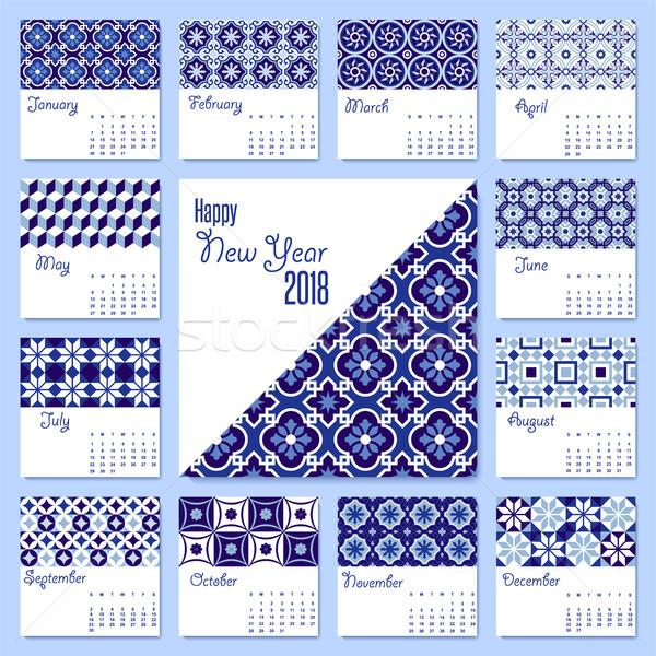 New Year 2018 blue mosaic tile calendar template  Stock photo © cienpies