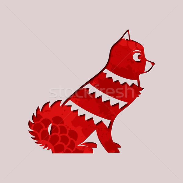 Año nuevo chino papel corte rojo perro Foto stock © cienpies