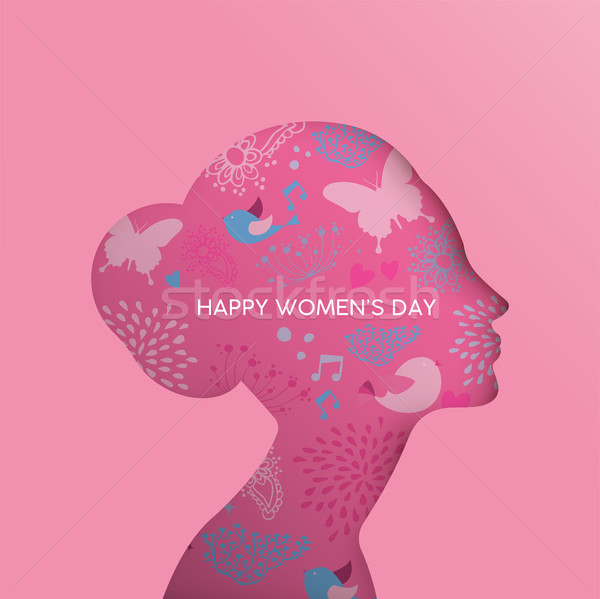 Happy Women Day pink floral girl cutout greeting card Stock photo © cienpies
