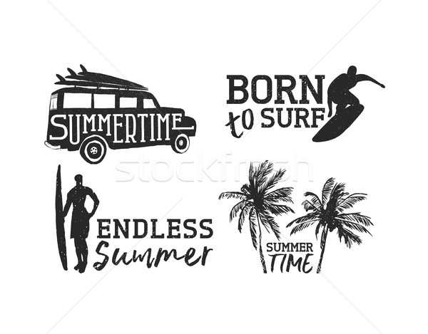 Tropical surf label set for summer beach vacation Stock photo © cienpies