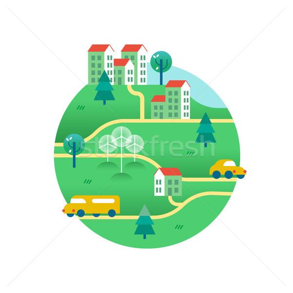 Stockfoto: Groene · wereld · huizen · milieuvriendelijk · vervoer · openbaar · vervoer