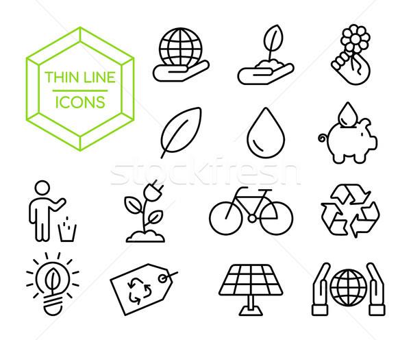 Green eco friendly environment thin line icon set Stock photo © cienpies