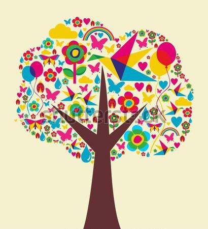весны сезон дерево красочный весна иконки Сток-фото © cienpies