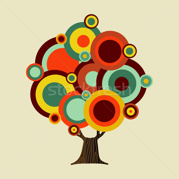 Retro color shapes concept tree decoration  Stock photo © cienpies