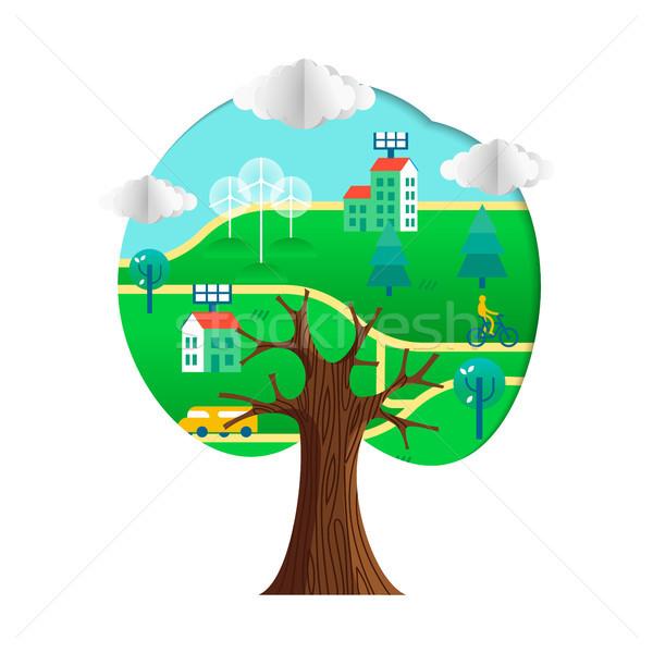 Milieuvriendelijk boom duurzaam stad groene papier Stockfoto © cienpies