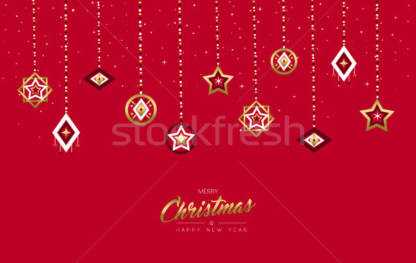 Stock photo: Christmas and New Year gold holiday bauble card