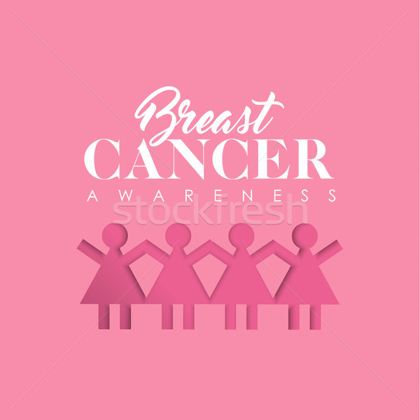 Breast Cancer Awareness paper cutout girl group Stock photo © cienpies