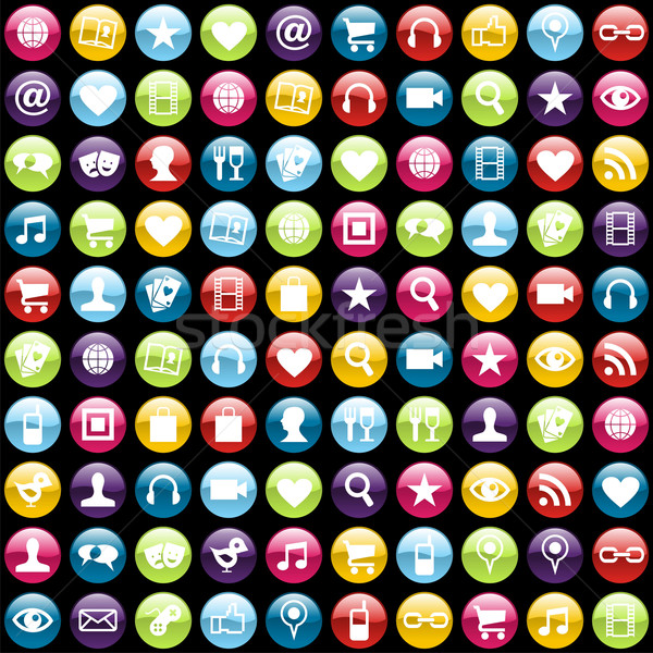 Mobile phone app icons background Stock photo © cienpies