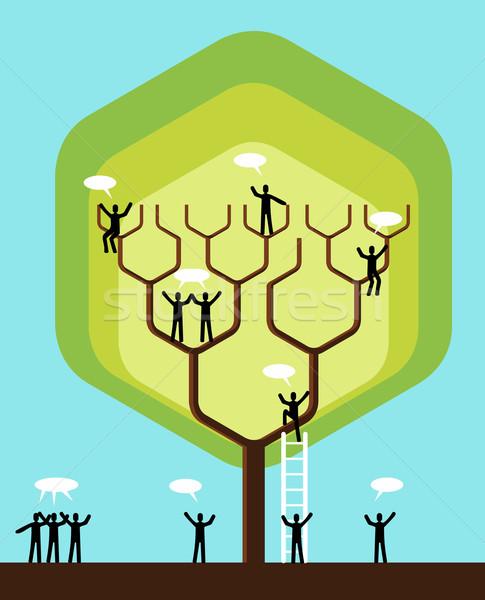 Zdjęcia stock: Social · media · sieci · działalności · drzewo · zespół · firmy
