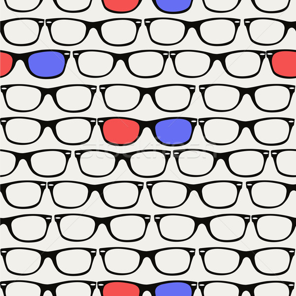 Hipsters retro 3D Glasses seamless pattern. Stock photo © cienpies