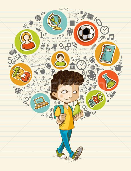 De Volta A Escola Educacao Icones Colorido Desenho