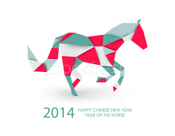 Chinese new year of the Horse abstract triangle illustration. Stock photo © cienpies